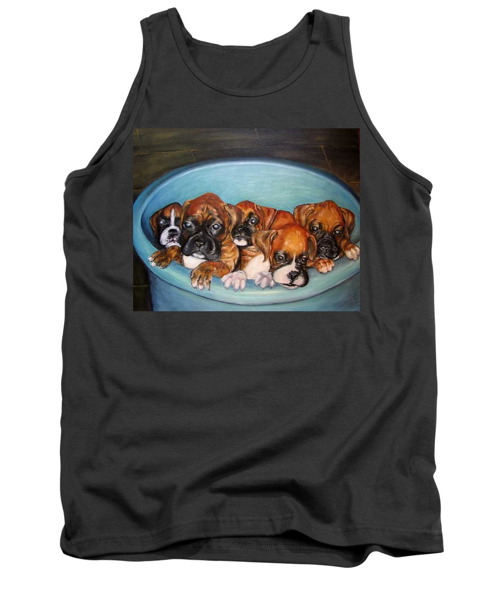 Oil Tank Top featuring the painting Funny Puppies orginal oil painting by Natalja Picugina