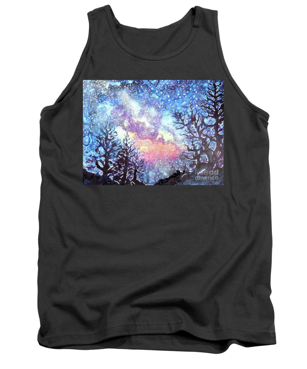 Galaxy Tank Top featuring the painting Galaxy Spring Night Watercolor by CheyAnne Sexton