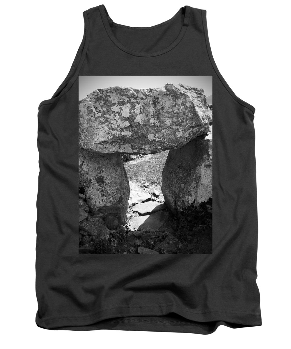 Ireland Tank Top featuring the photograph Gallery Entrance At Creevykeel Court Cairn Ireland by Teresa Mucha
