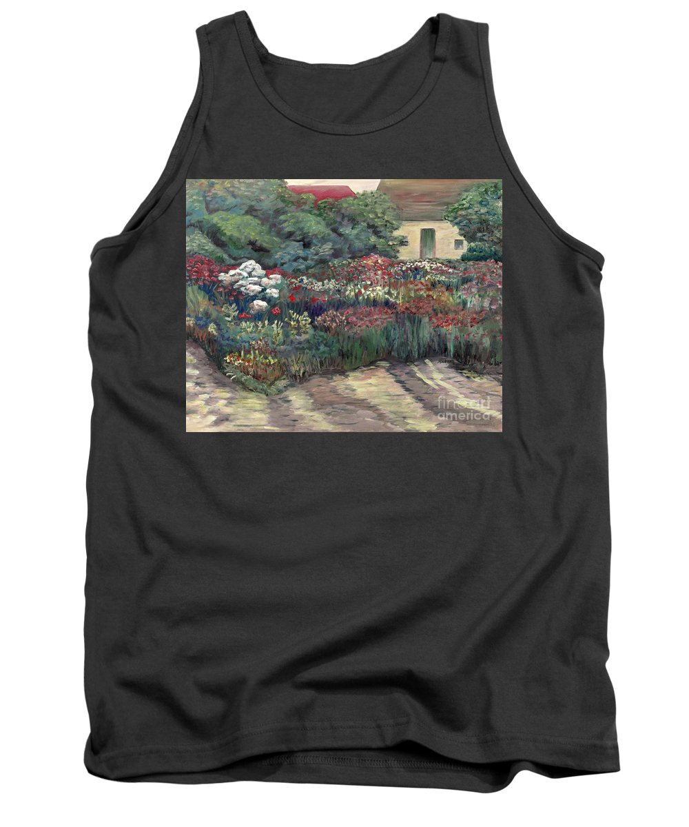 Breck Tank Top featuring the painting Garden At Giverny by Nadine Rippelmeyer