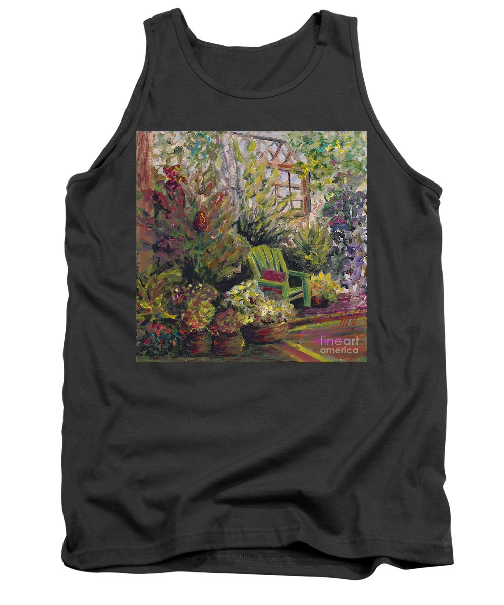 Green Tank Top featuring the painting Garden Escape by Nadine Rippelmeyer