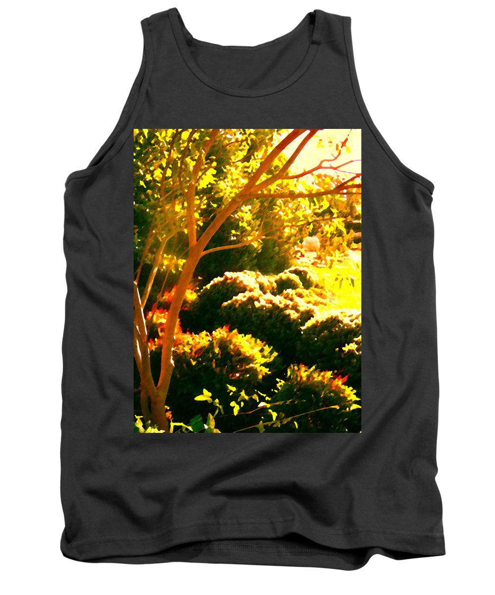 Landscapes Tank Top featuring the painting Garden Landscape On A Sunny Day by Amy Vangsgard
