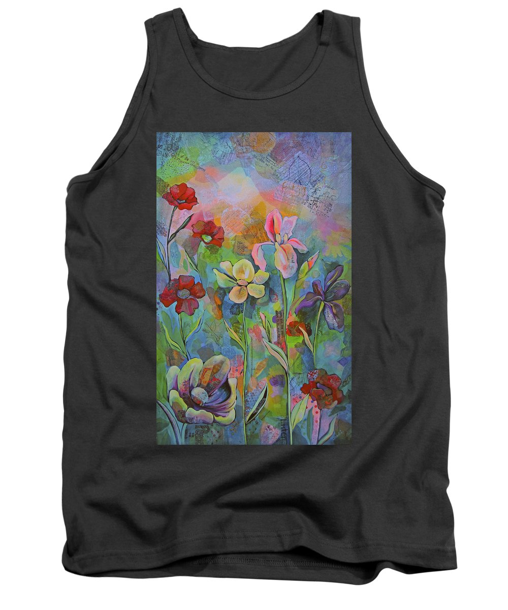 Garden Tank Top featuring the painting Garden Of Intention - Triptych Center Panel by Shadia Derbyshire