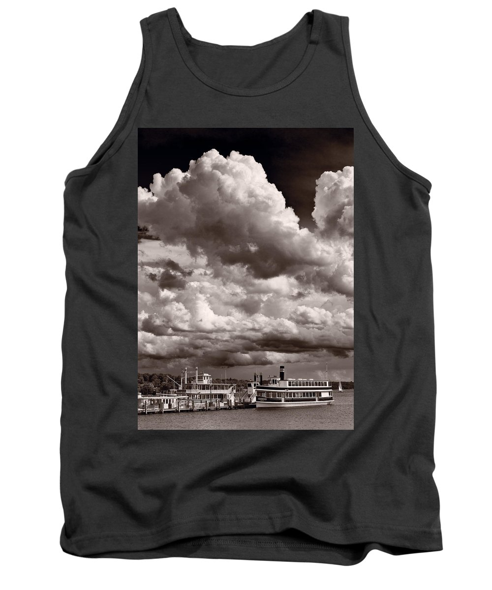 Lake Tank Top featuring the photograph Gathering Clouds Over Lake Geneva Bw by Steve Gadomski