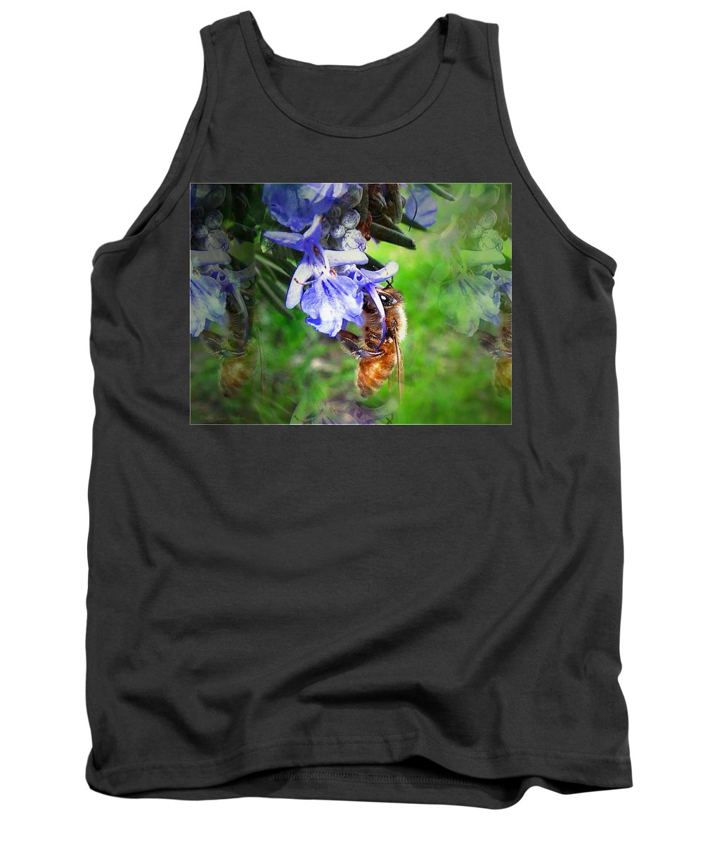 Bee Tank Top featuring the photograph Gathering Rosemary Pollen by Joyce Dickens