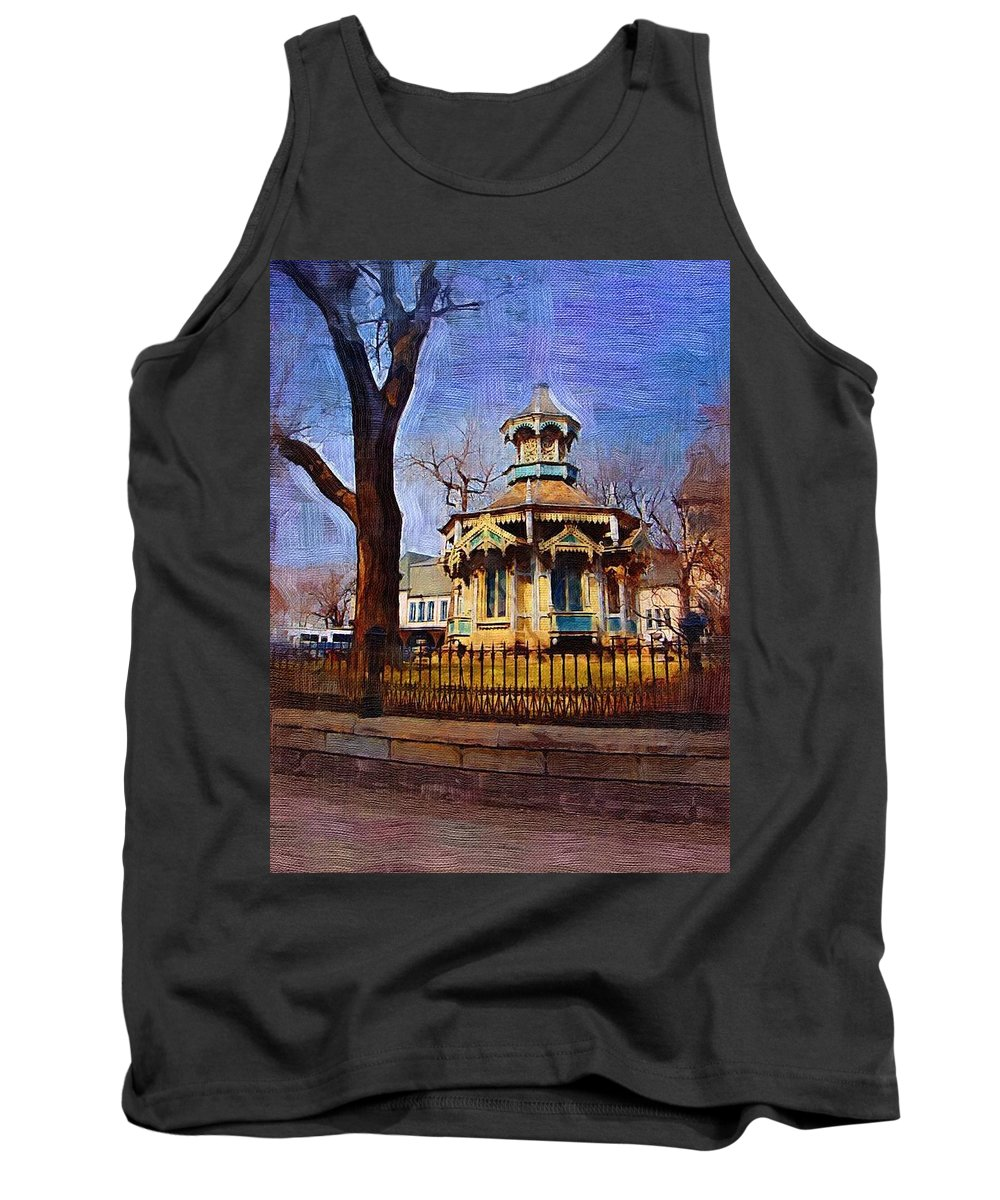 Architecture Tank Top featuring the digital art Gazebo And Tree by Anita Burgermeister