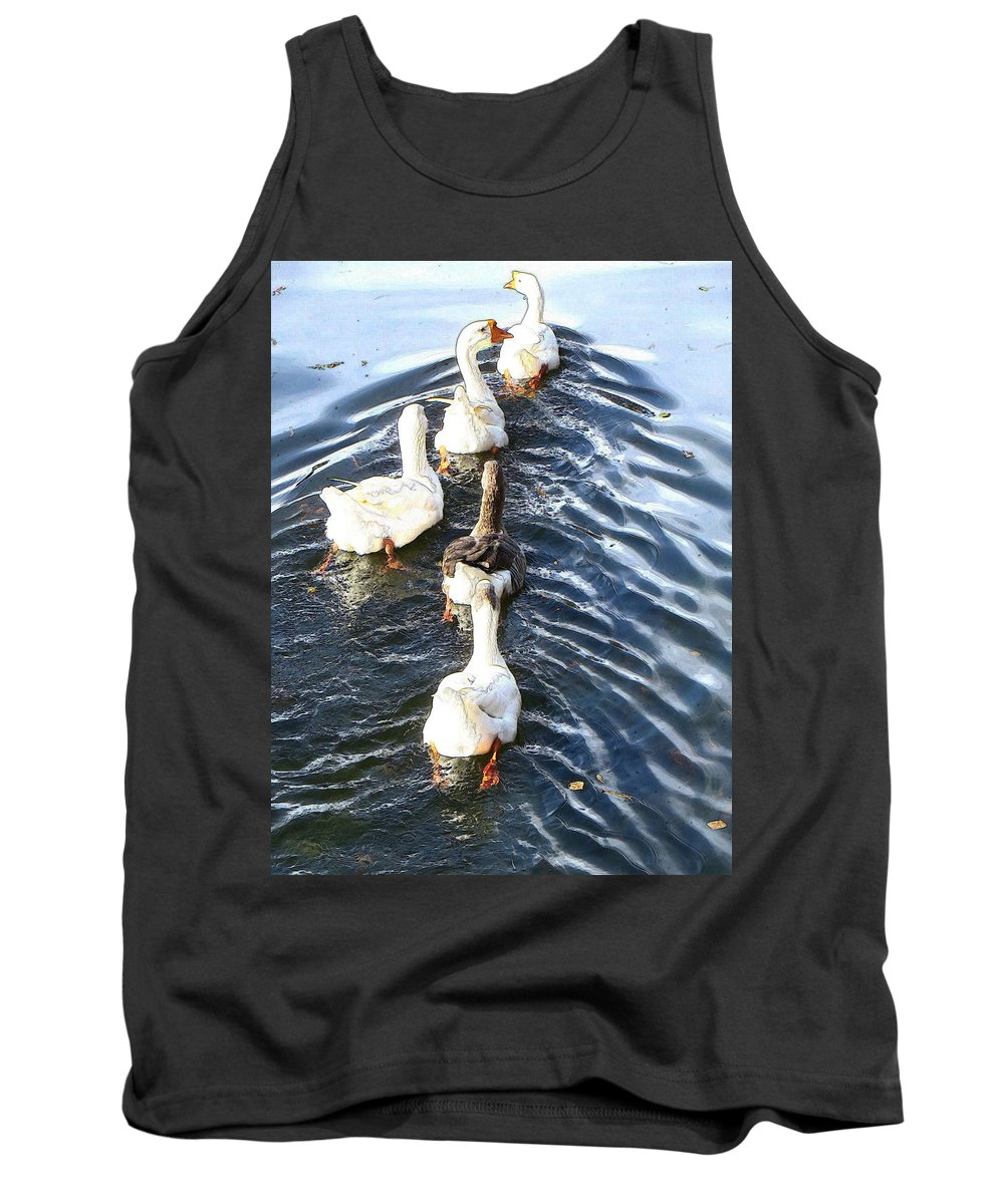 Bright Tank Top featuring the photograph the Geese are leaving by Candee Lucas