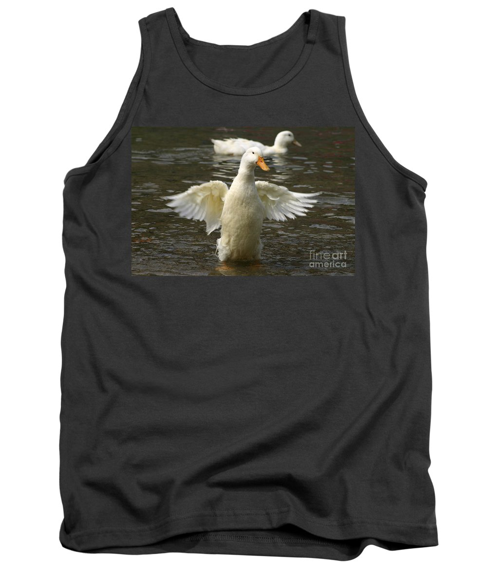 Ducks Tank Top featuring the photograph Geese In The Water by Danny Yanai