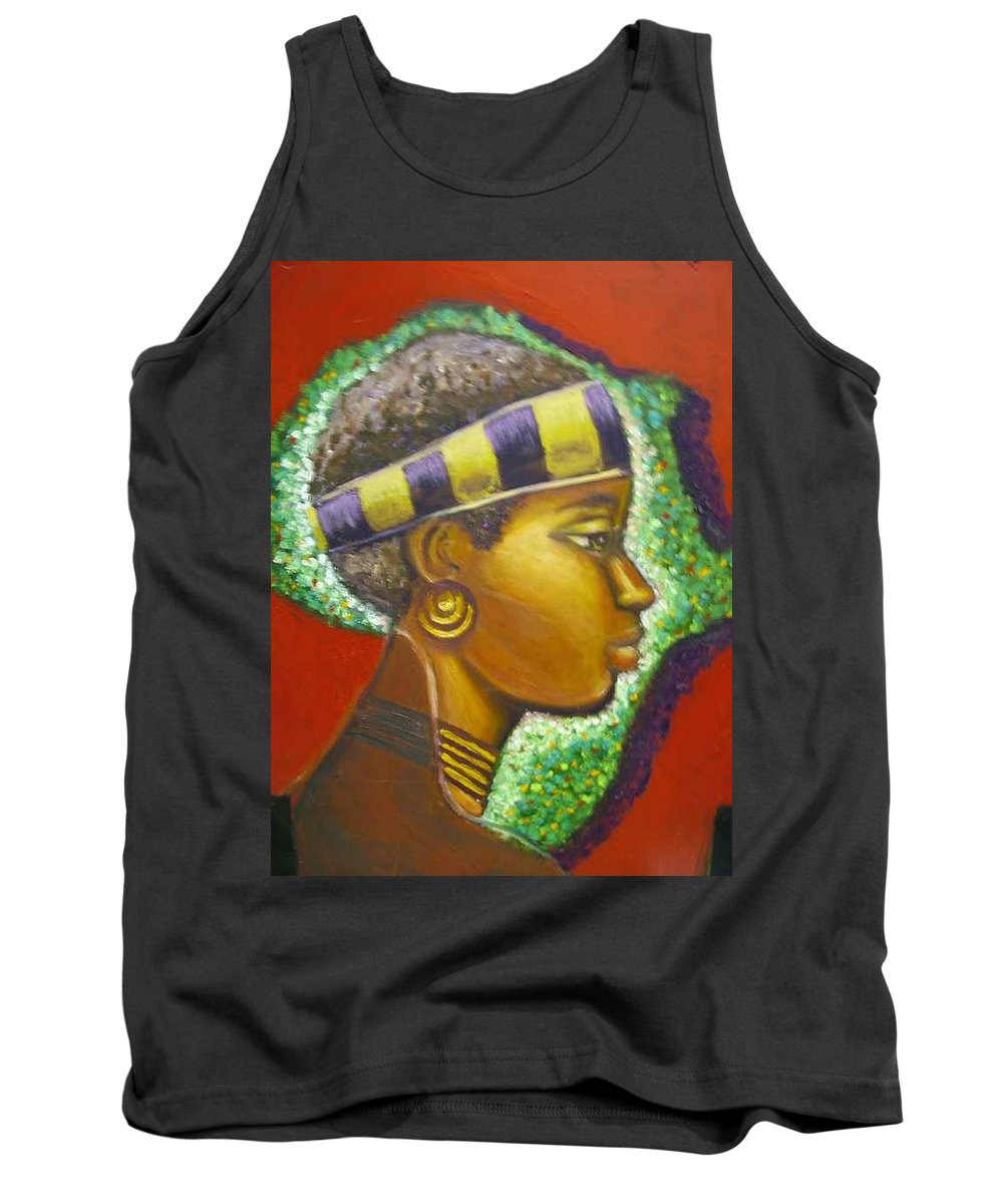 Gem Of Africa Tank Top featuring the painting Gem Of Africa by Jan Gilmore
