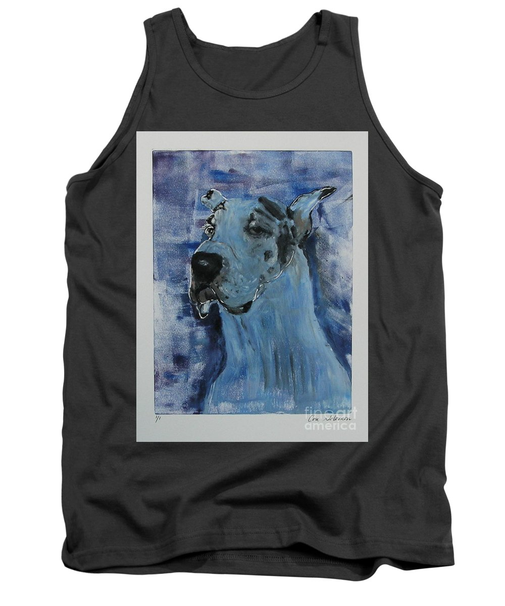 Great Dane Tank Top featuring the mixed media Gentle Giant by Cori Solomon