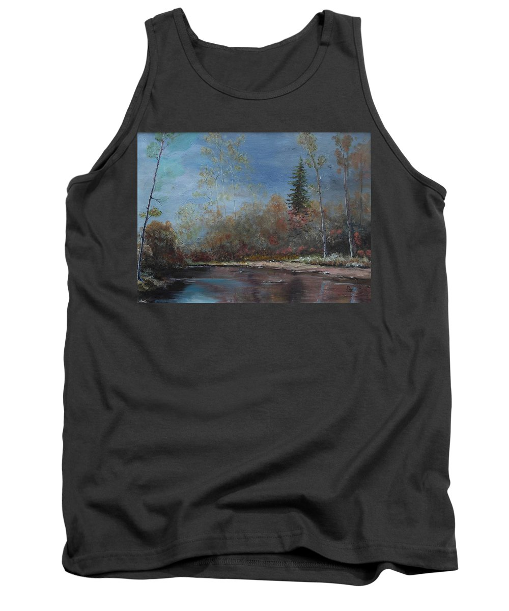 River Tank Top featuring the painting Gentle Stream - Lmj by Ruth Kamenev
