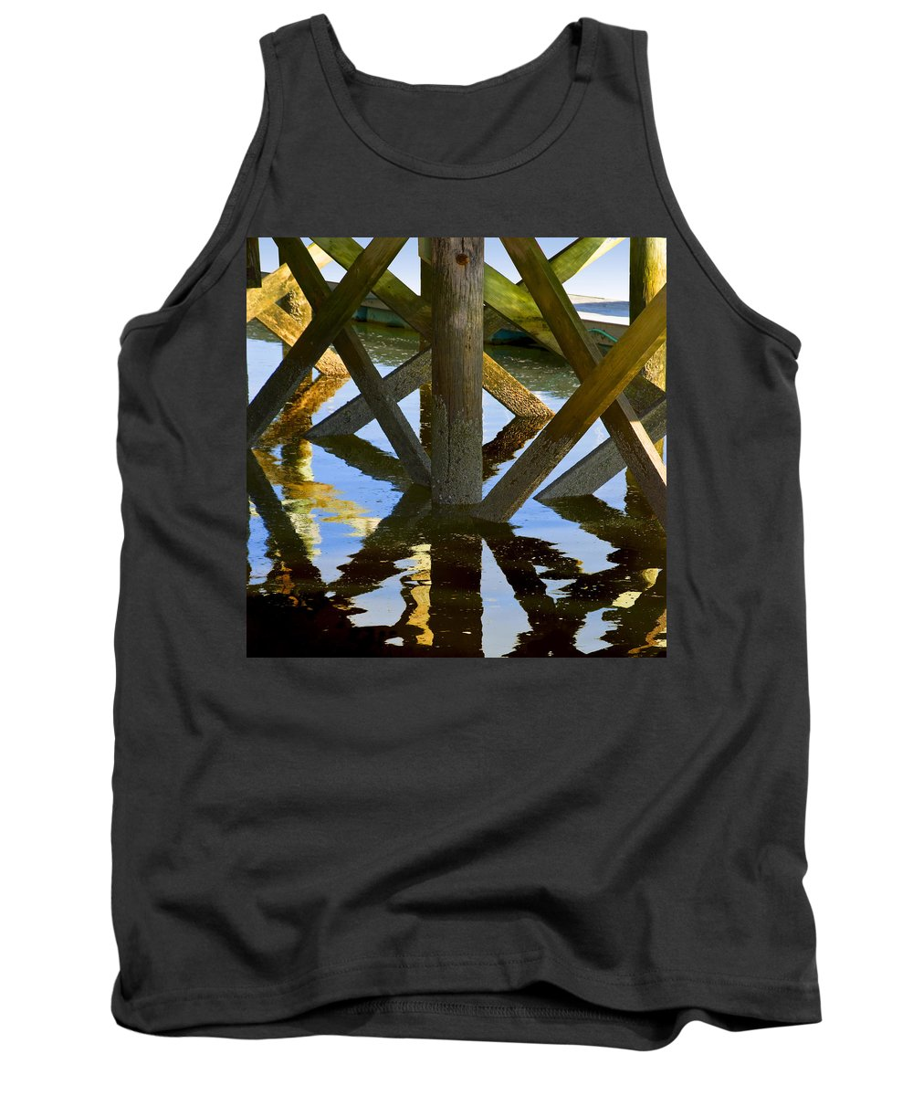 Geometric Tank Top featuring the photograph Geometric Pilings by Charles Harden