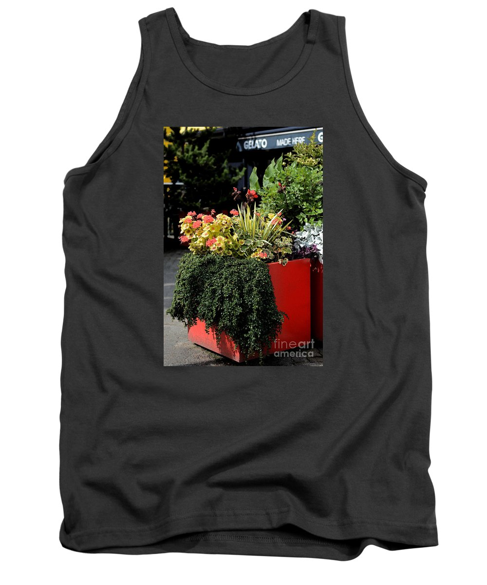 Geranium Tank Top featuring the photograph Geraniums And Gelato by Connie Fox