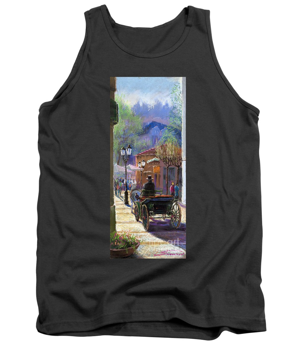 Pastel Tank Top featuring the painting Germany Baden-baden Spring Ray by Yuriy Shevchuk