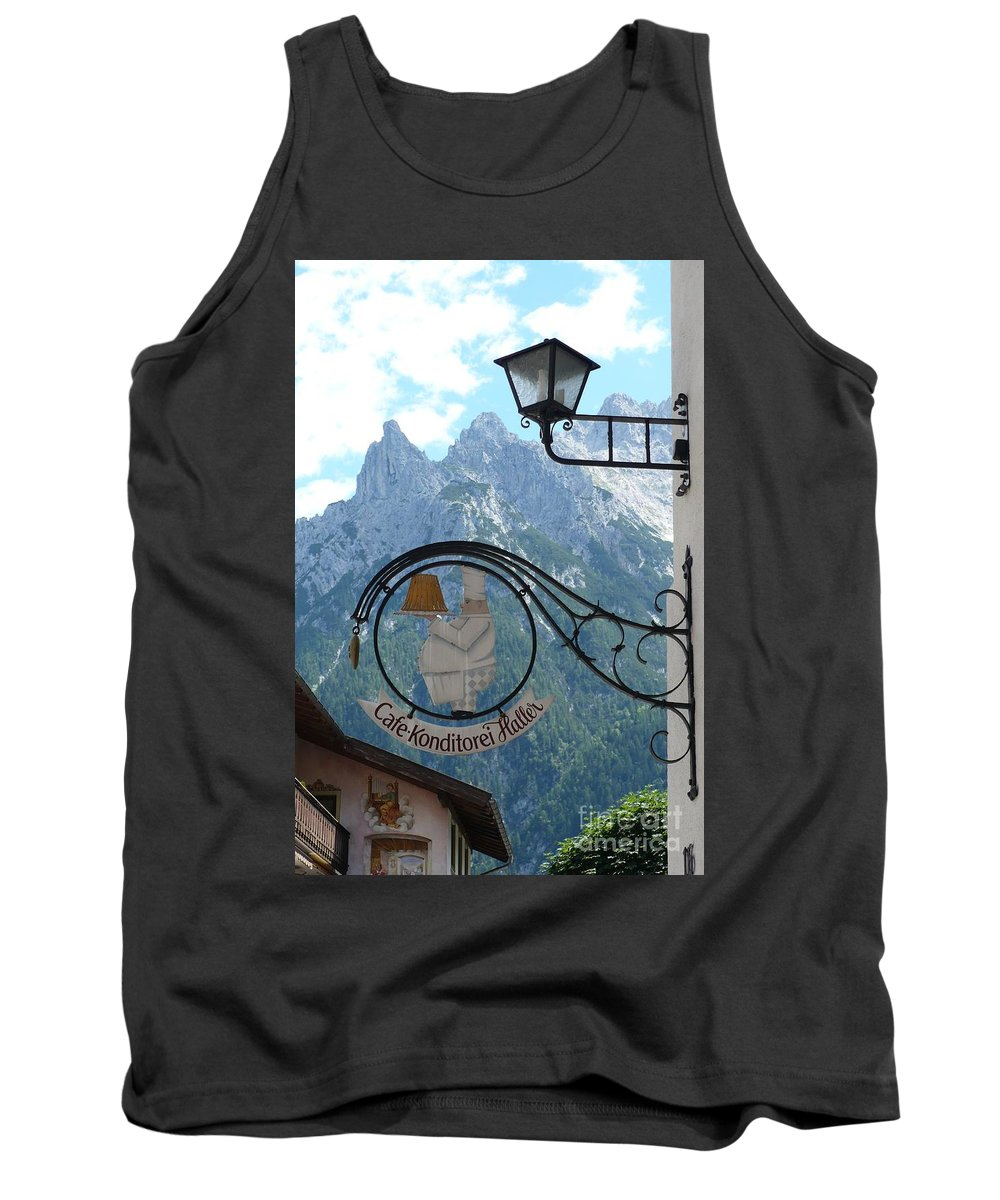 Bavarian Alps Tank Top featuring the photograph Germany - Cafe Sign by Carol Groenen