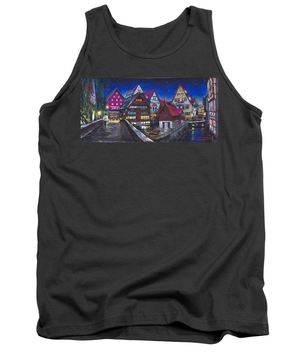 Pastel Tank Top featuring the painting Germany Ulm Fischer Viertel by Yuriy Shevchuk