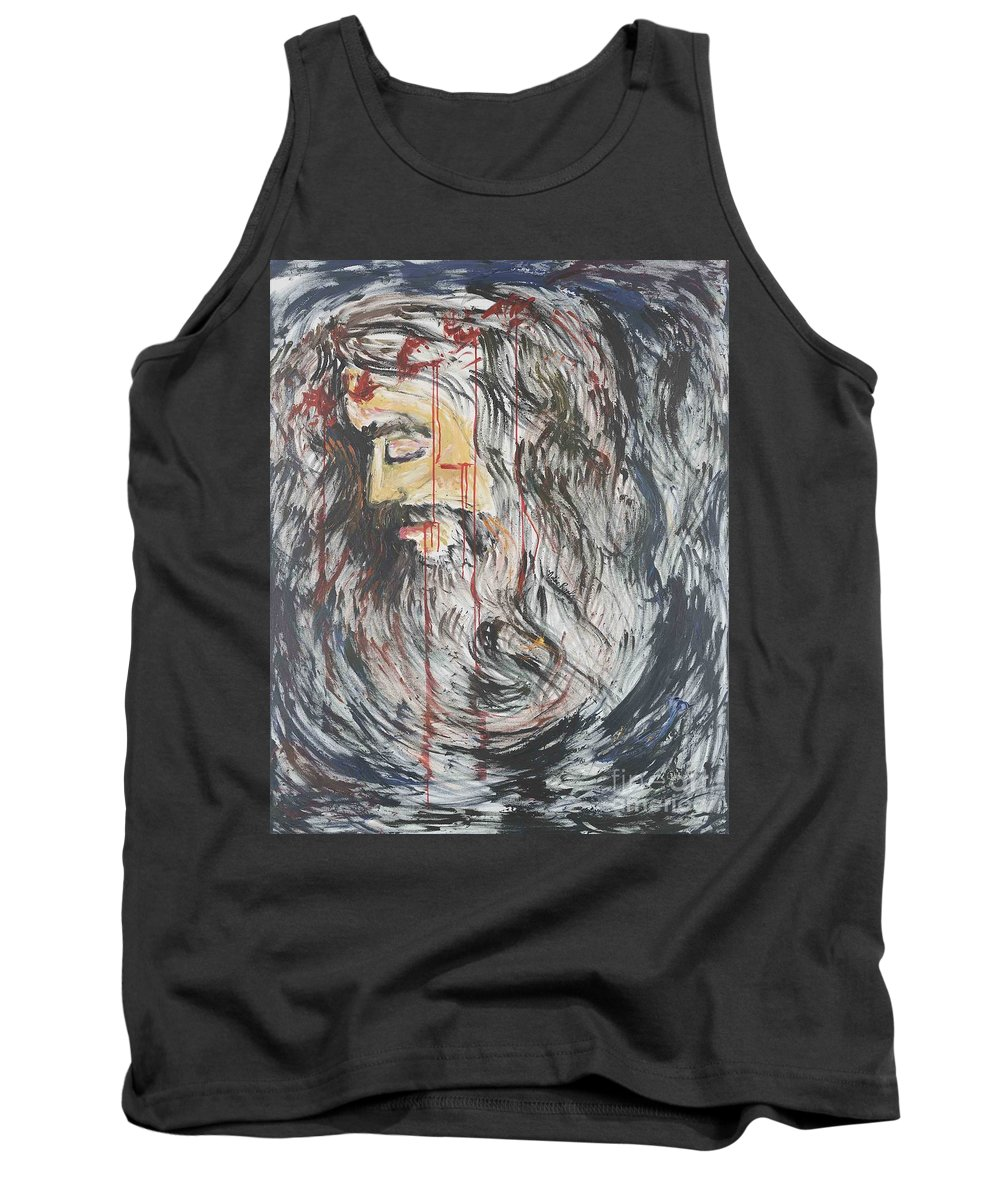 Jesus Tank Top featuring the painting Gethsemane To Golgotha IIi by Nadine Rippelmeyer