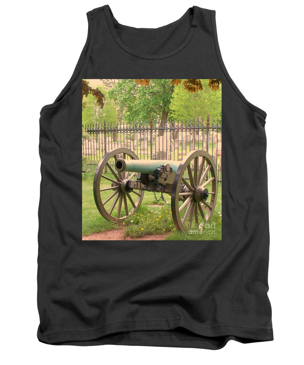 Gettysburgs Tank Top featuring the painting Gettysburg Cannon Cemetery Hill by Eric Schiabor