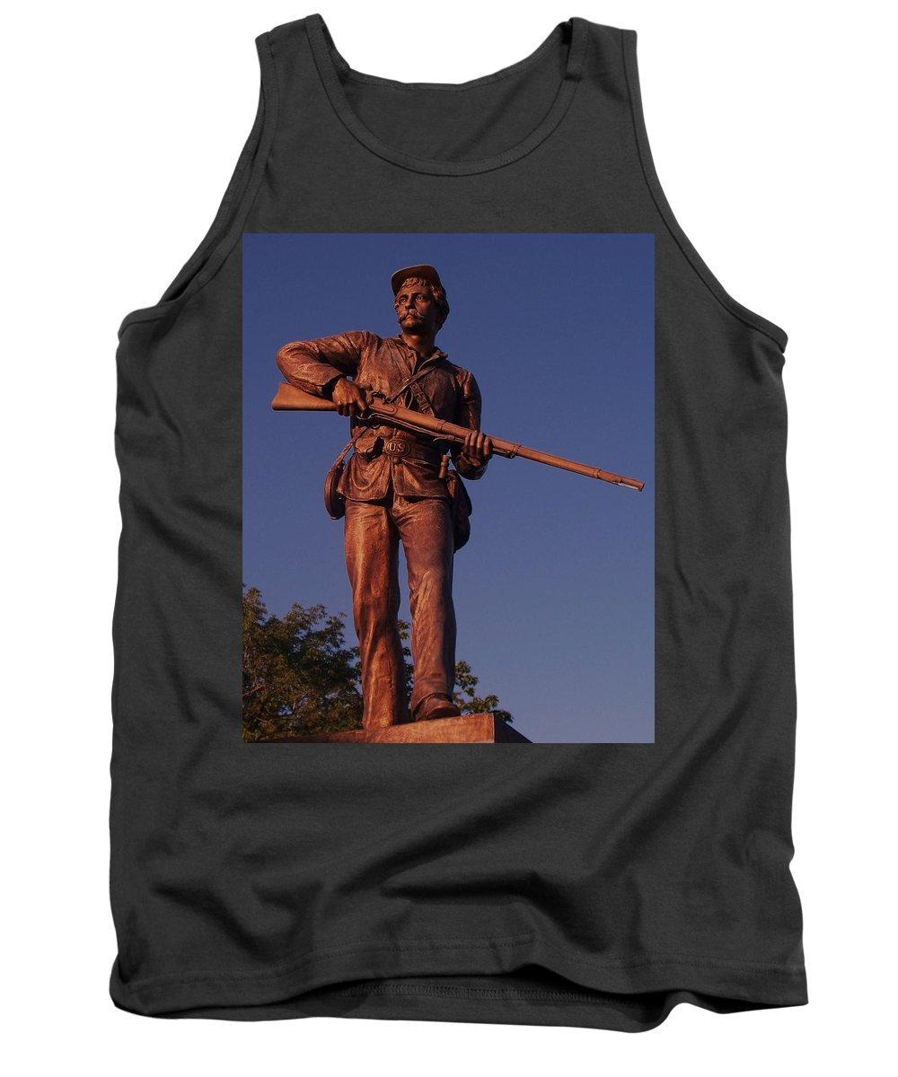 Gettysburg Tank Top featuring the photograph Gettysburg Statue by Eric Schiabor