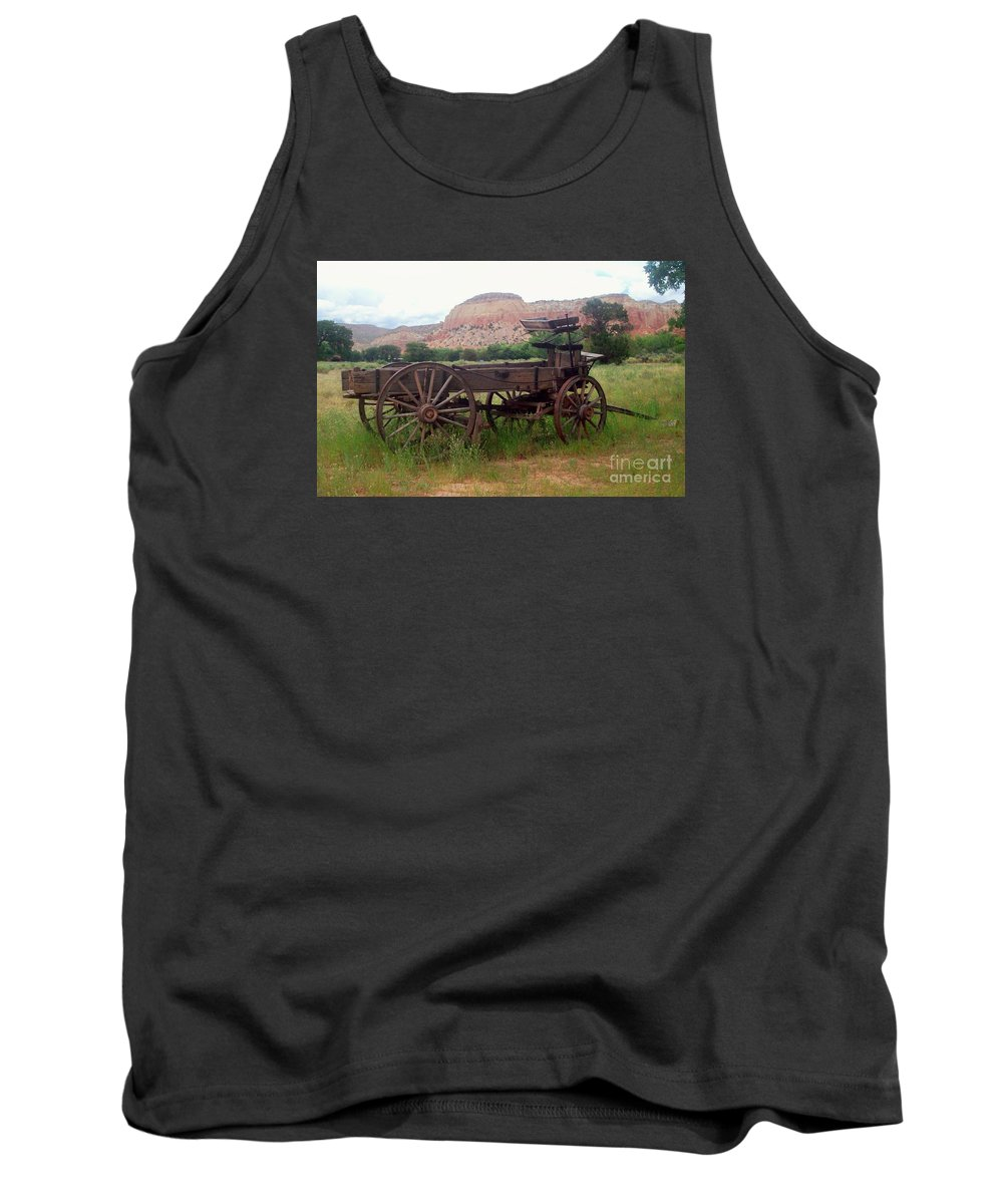 Old West Tank Top featuring the photograph Ghost Ranch Wagon by Sandra McClure