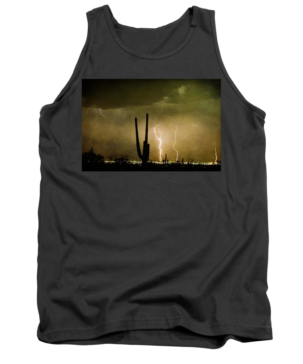 Lightning Tank Top featuring the photograph Giant Saguaro Southwest Lightning Peace Out by James BO Insogna