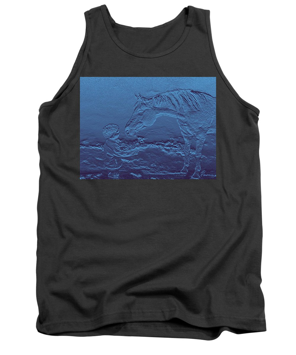 Horse Child Innocent Blue Horses Ranch Farm Tank Top featuring the photograph Gimme A Kiss by Andrea Lawrence