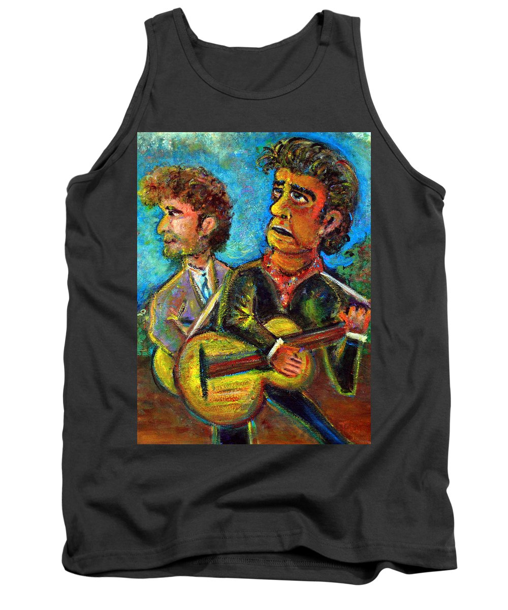 Johnny Cash And Bob Dylan In A Piece Dubbed Girl From North Country Fair Nashville Skyline Country Music Rock Music 60s Hippie Tank Top featuring the painting Girl From North Country Johnny Cash And Bob Dylab by Jason Gluskin