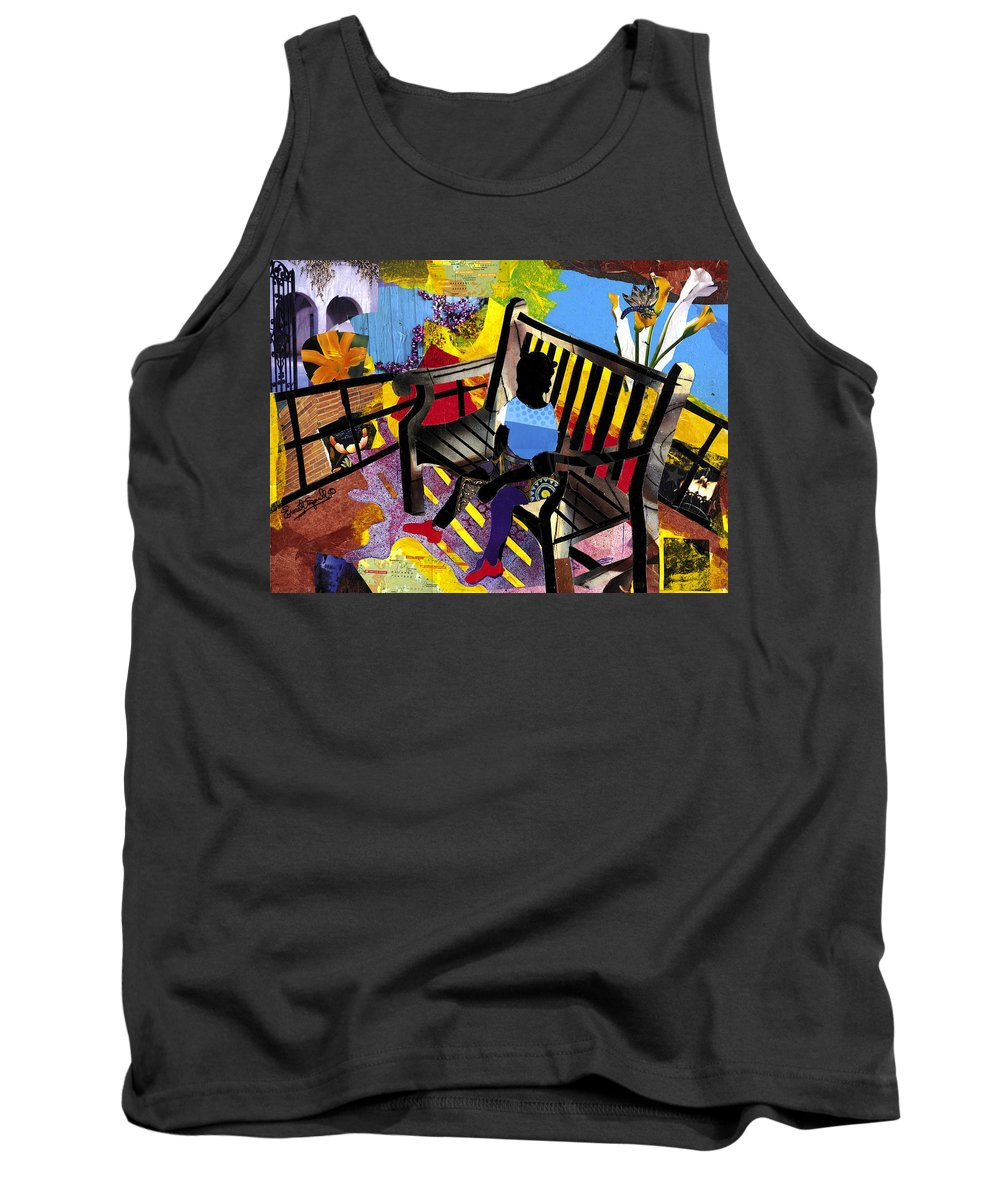 Everett Spruill Tank Top featuring the painting Girl In Red Shoes by Everett Spruill