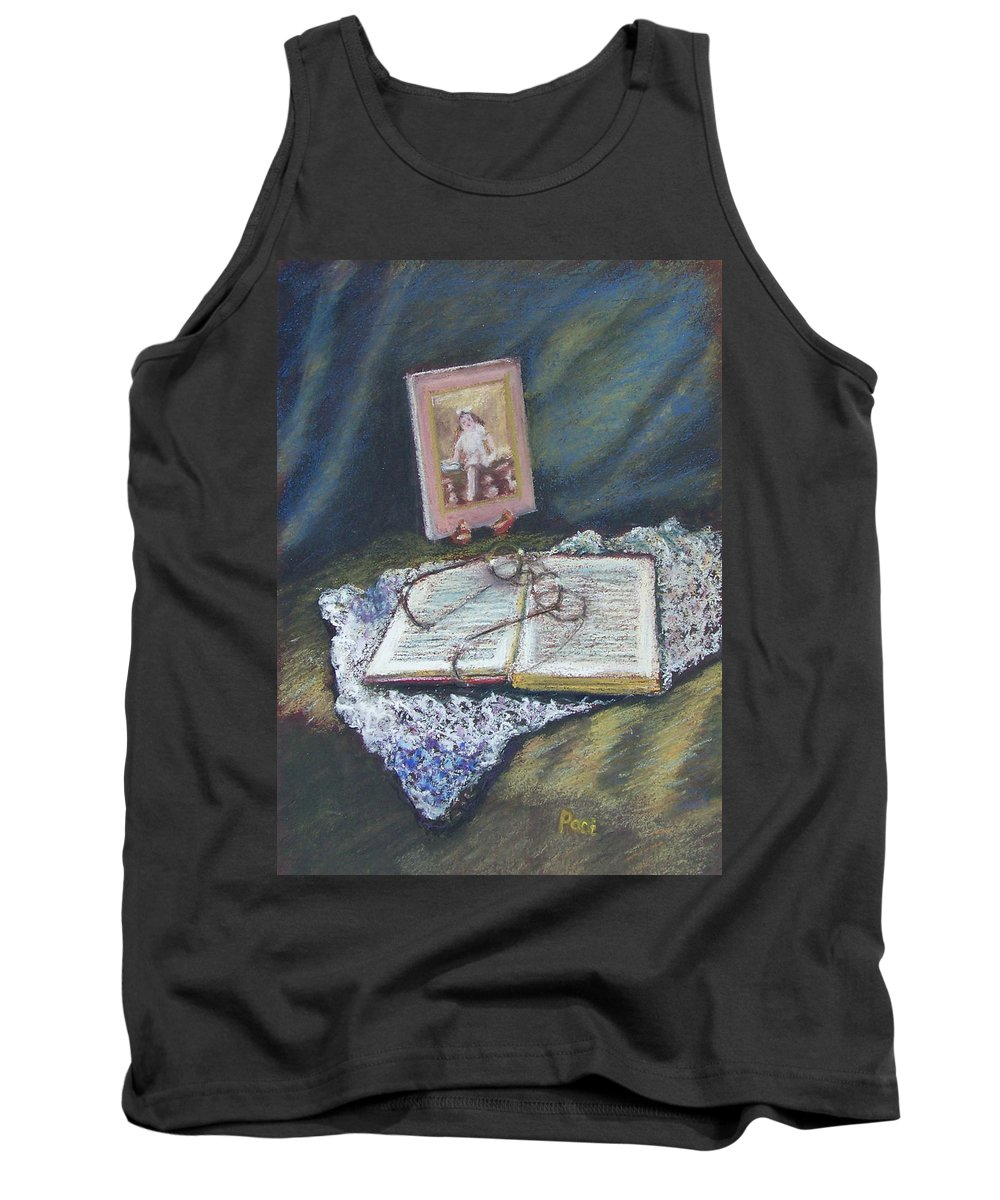 Still Life Tank Top featuring the painting Girl With A Book by Laurie Paci