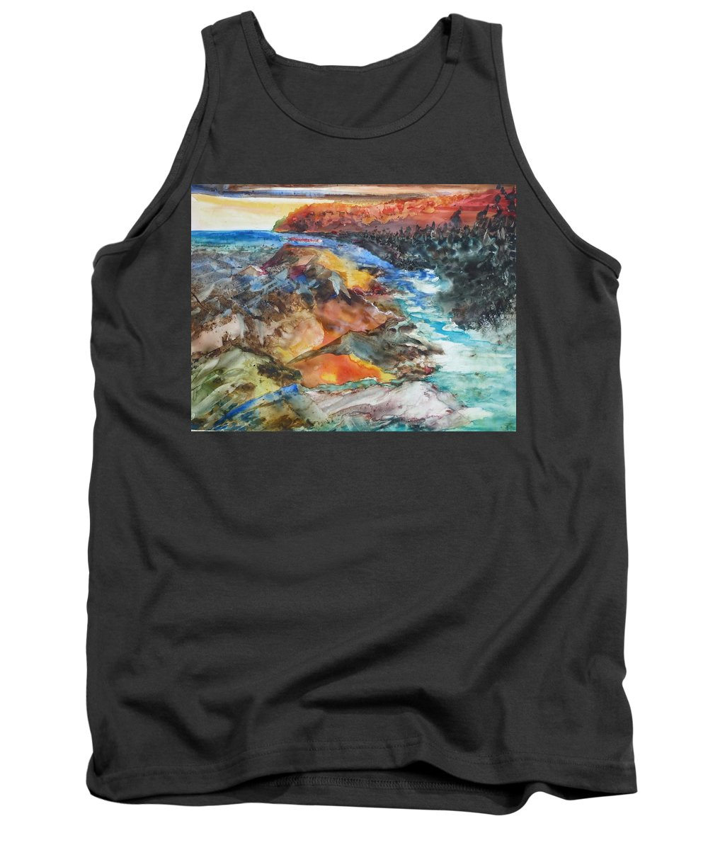 Abstract Tank Top featuring the painting Glacial Meltdown by Ruth Kamenev