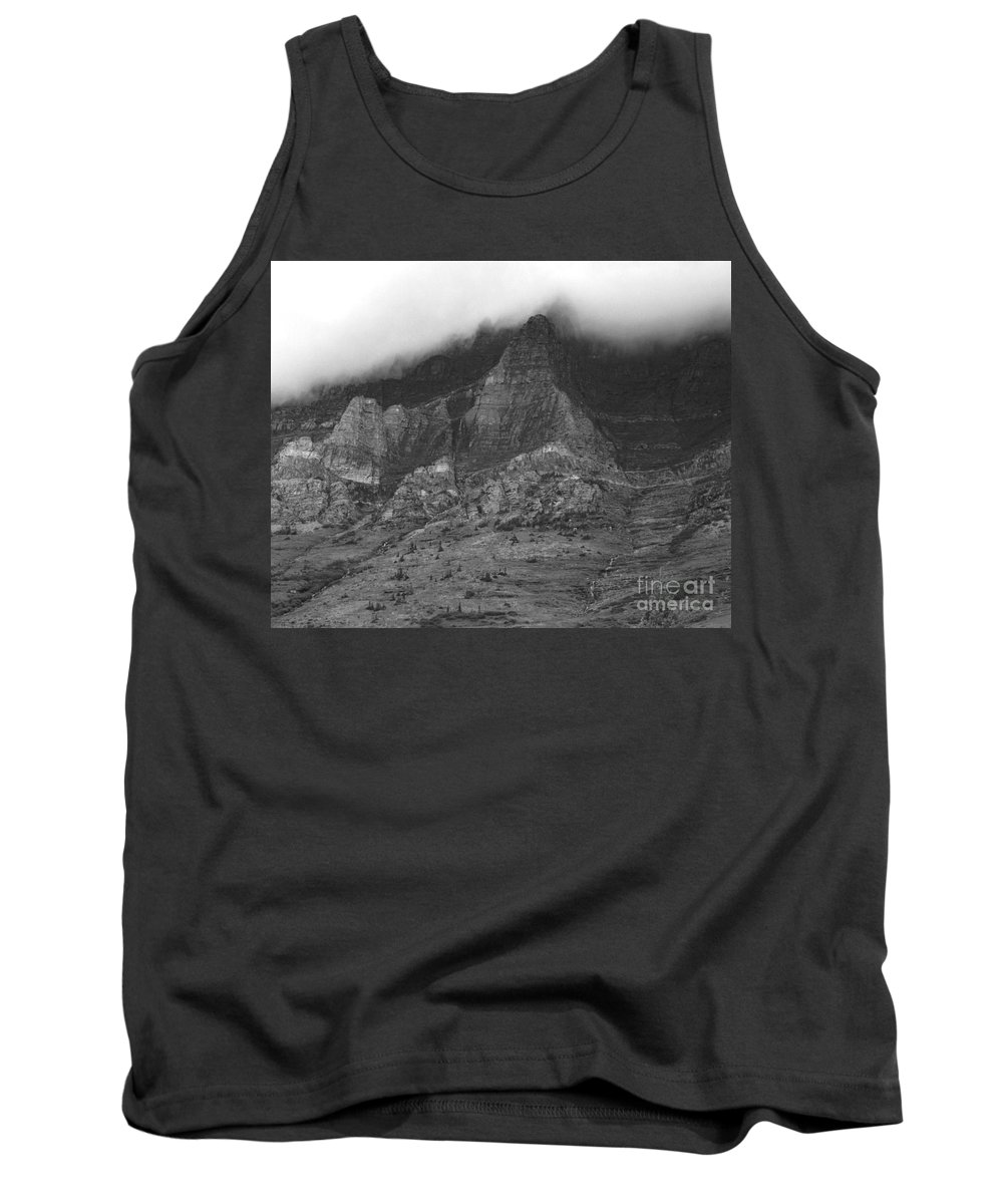 Glacier National Park Montana Horizontal Black And White Mountain Cloud Landscape Striation Pine Tree Waterfall Tank Top featuring the photograph Glacier National Park Montana Horizontal by Heather Kirk