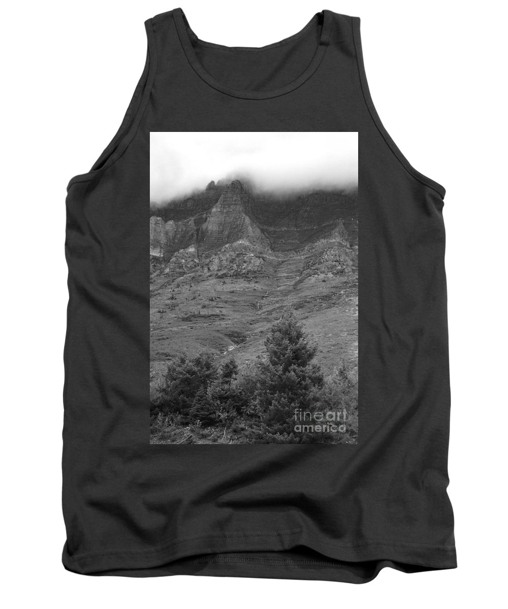 Glacier National Park Montana Horizontal Black And White Mountain Cloud Landscape Striation Pine Tree Waterfall Tank Top featuring the photograph Glacier National Park Montana Vertical by Heather Kirk