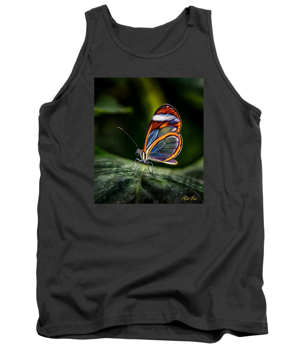 Animals Tank Top featuring the photograph Glasswing Butterfly Iridescence by Rikk Flohr