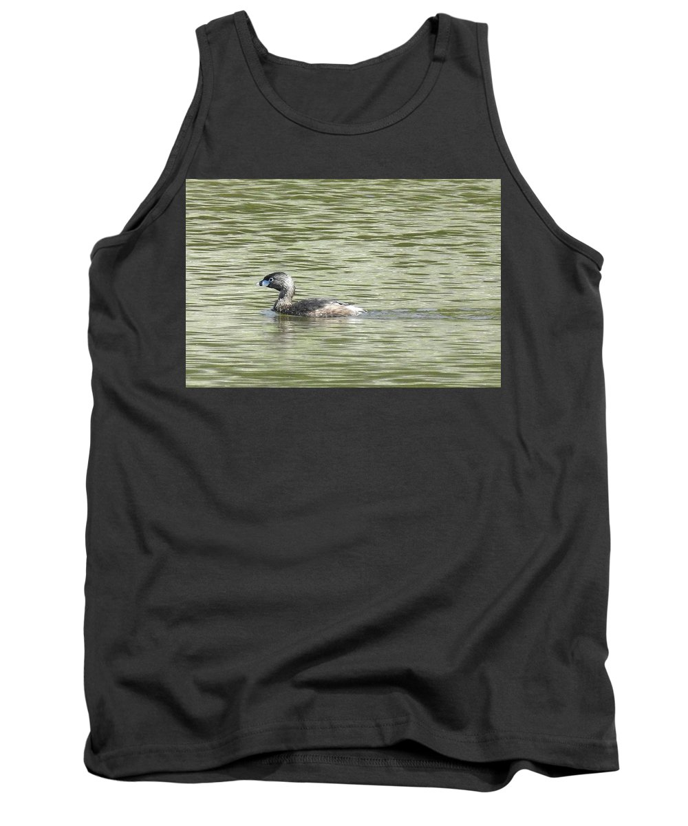 Pied-billed Grebe Tank Top featuring the photograph Glistening Delight by Sandra O'Toole
