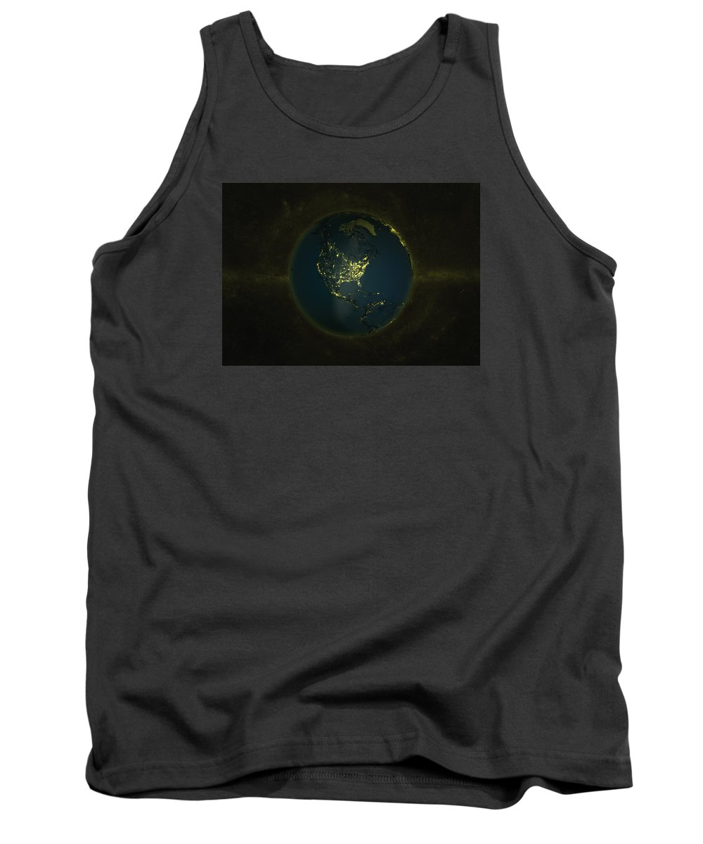 Earth Tank Top featuring the digital art Globe Lights America by Marco Bagni
