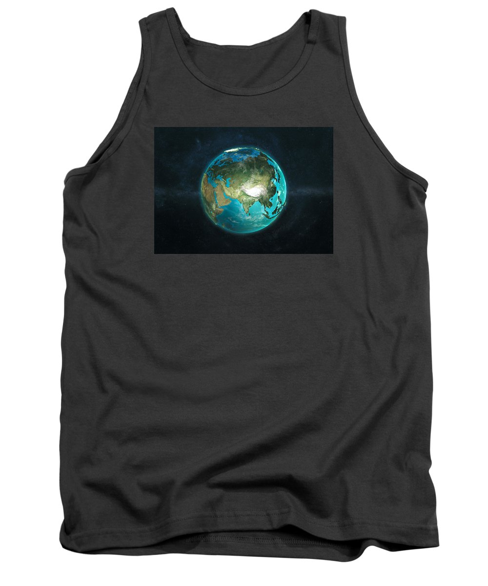 Earth Tank Top featuring the digital art Globe Physical Asia by Marco Bagni