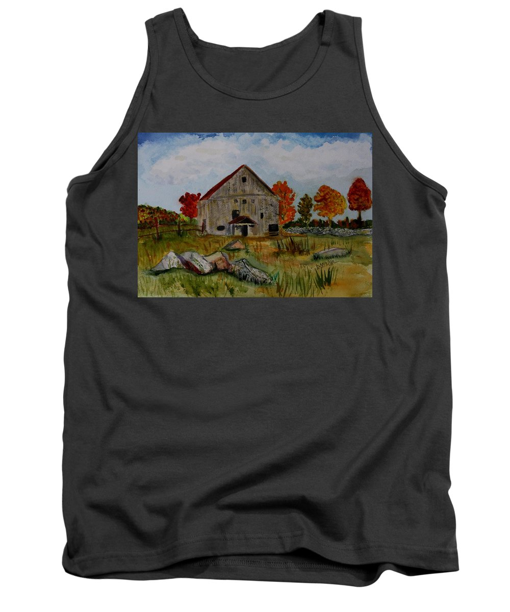 Glover Vt Tank Top featuring the painting Glover Barn In Autumn by Donna Walsh
