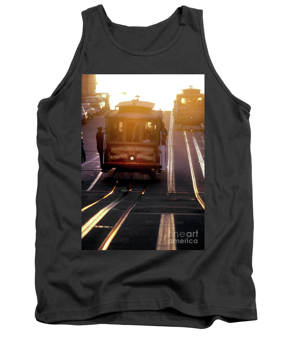 Nob Hill Tank Top featuring the photograph Glowing Magical Cable Cars On Nob Hill by Wernher Krutein
