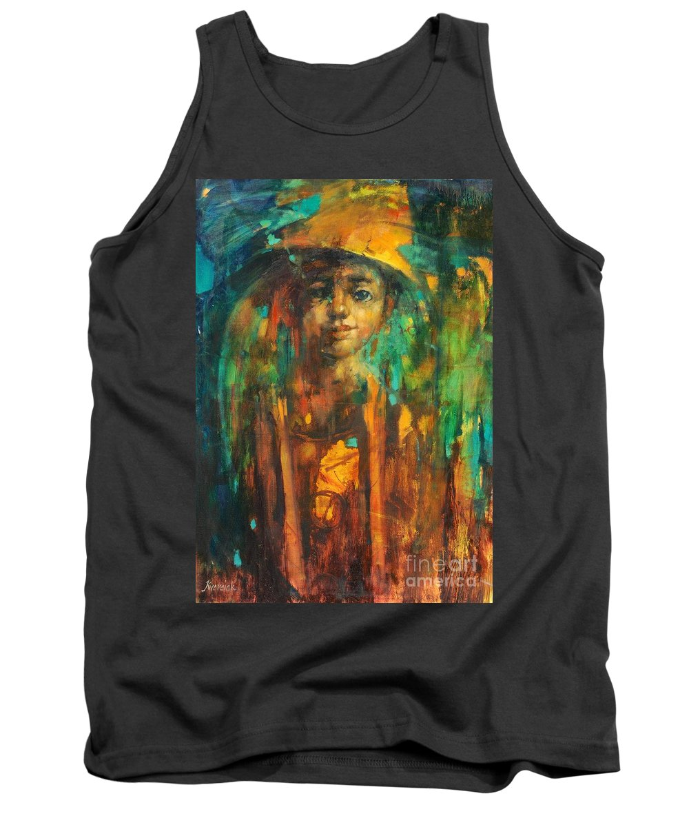 Golden Boy Tank Top featuring the painting Golden Boy by Michal Kwarciak