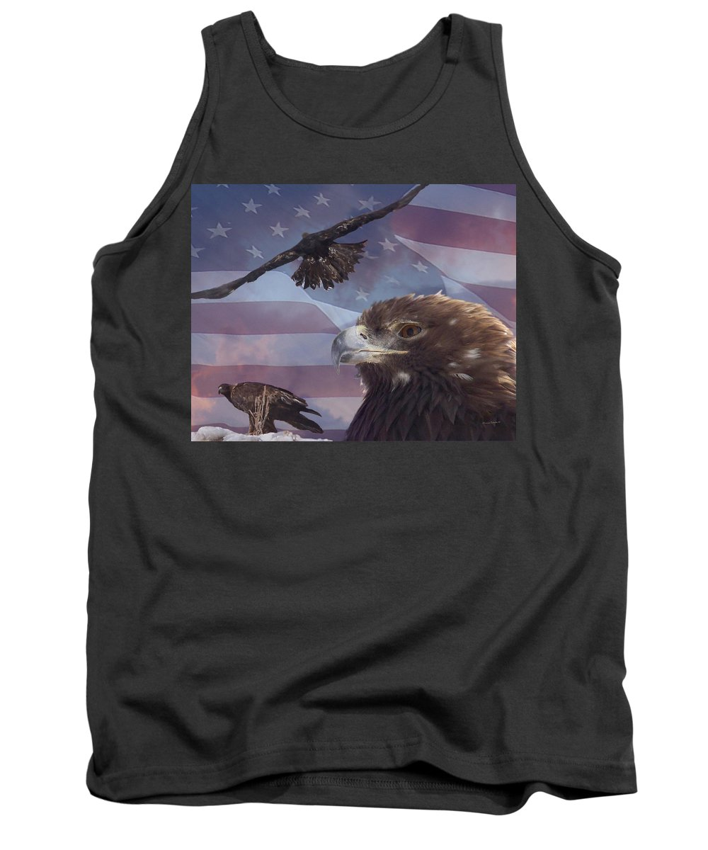 American Flag Tank Top featuring the photograph Golden Eagle Collage by Ernie Echols