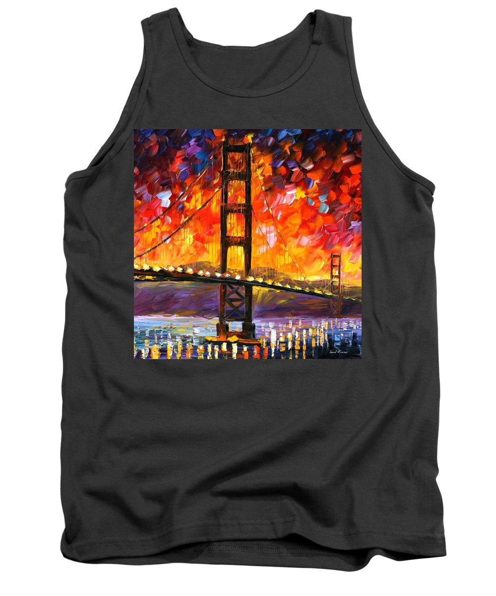 City Tank Top featuring the painting Golden Gate Bridge by Leonid Afremov