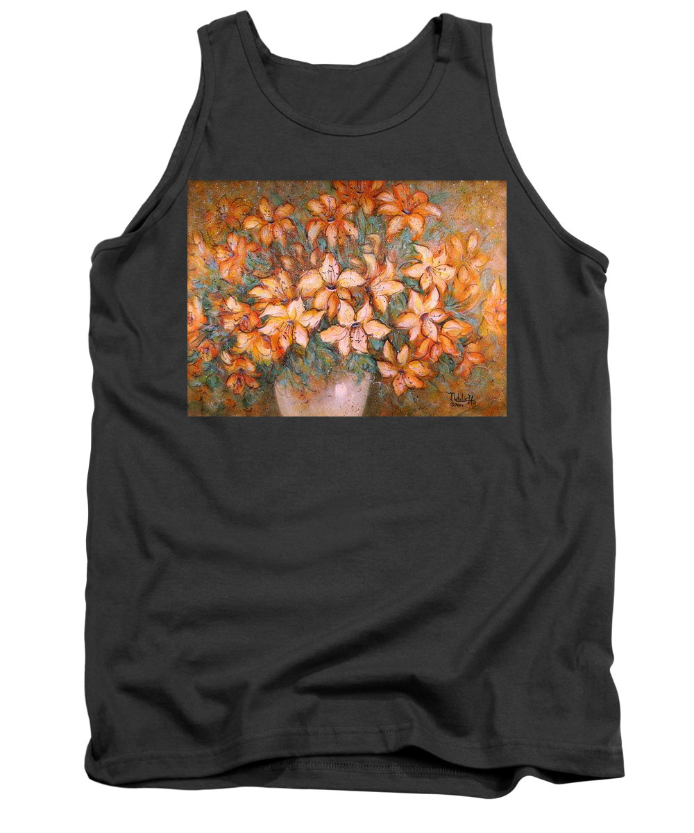 Yellow Lilies Tank Top featuring the painting Golden Lilies by Natalie Holland