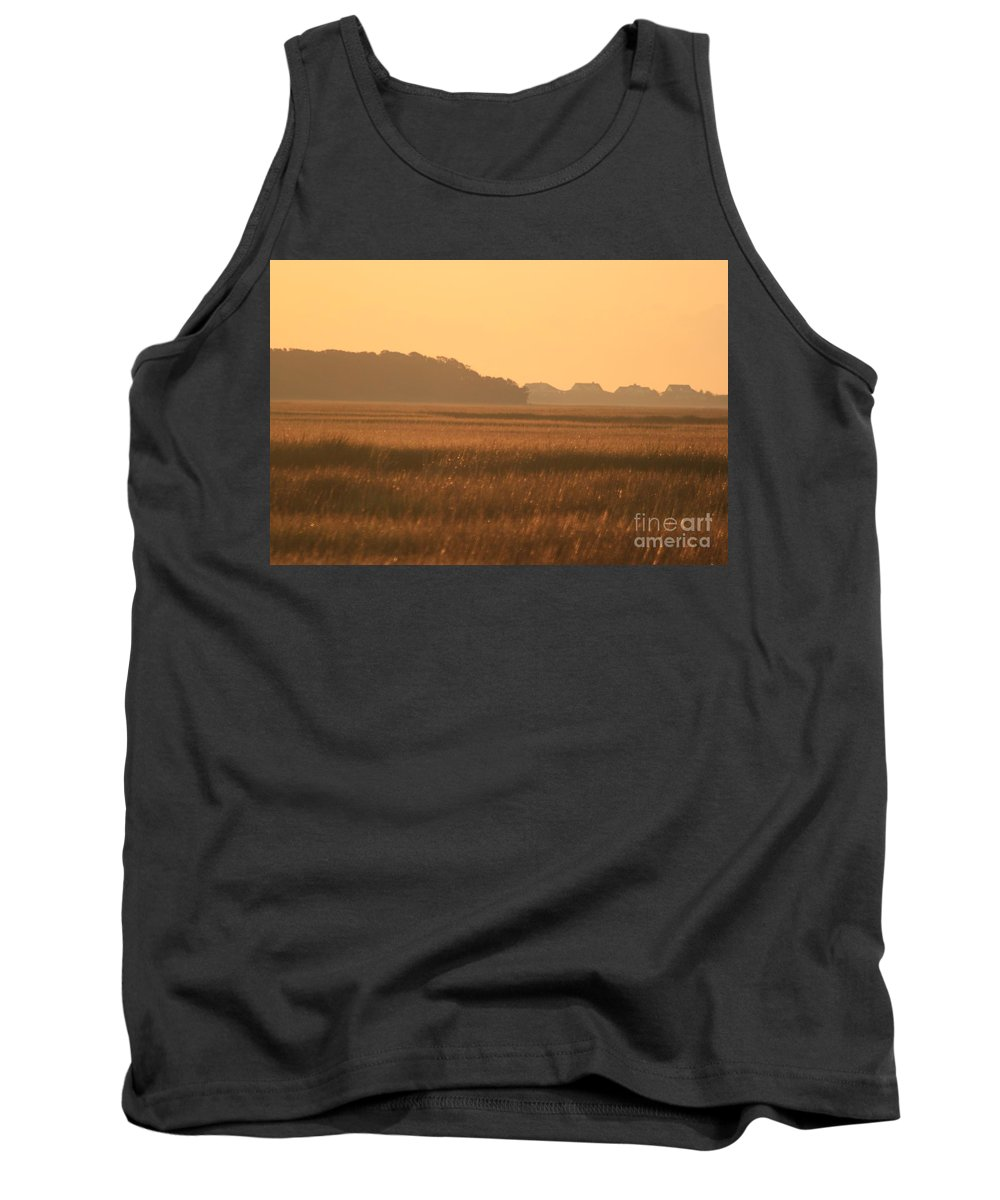Marsh Tank Top featuring the photograph Golden Marshes by Nadine Rippelmeyer