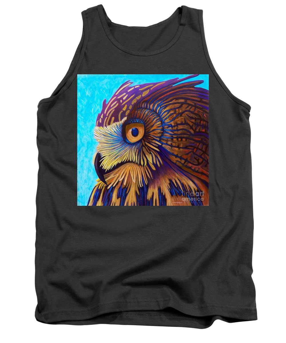 Owl Tank Top featuring the painting Golden Silence by Brian Commerford