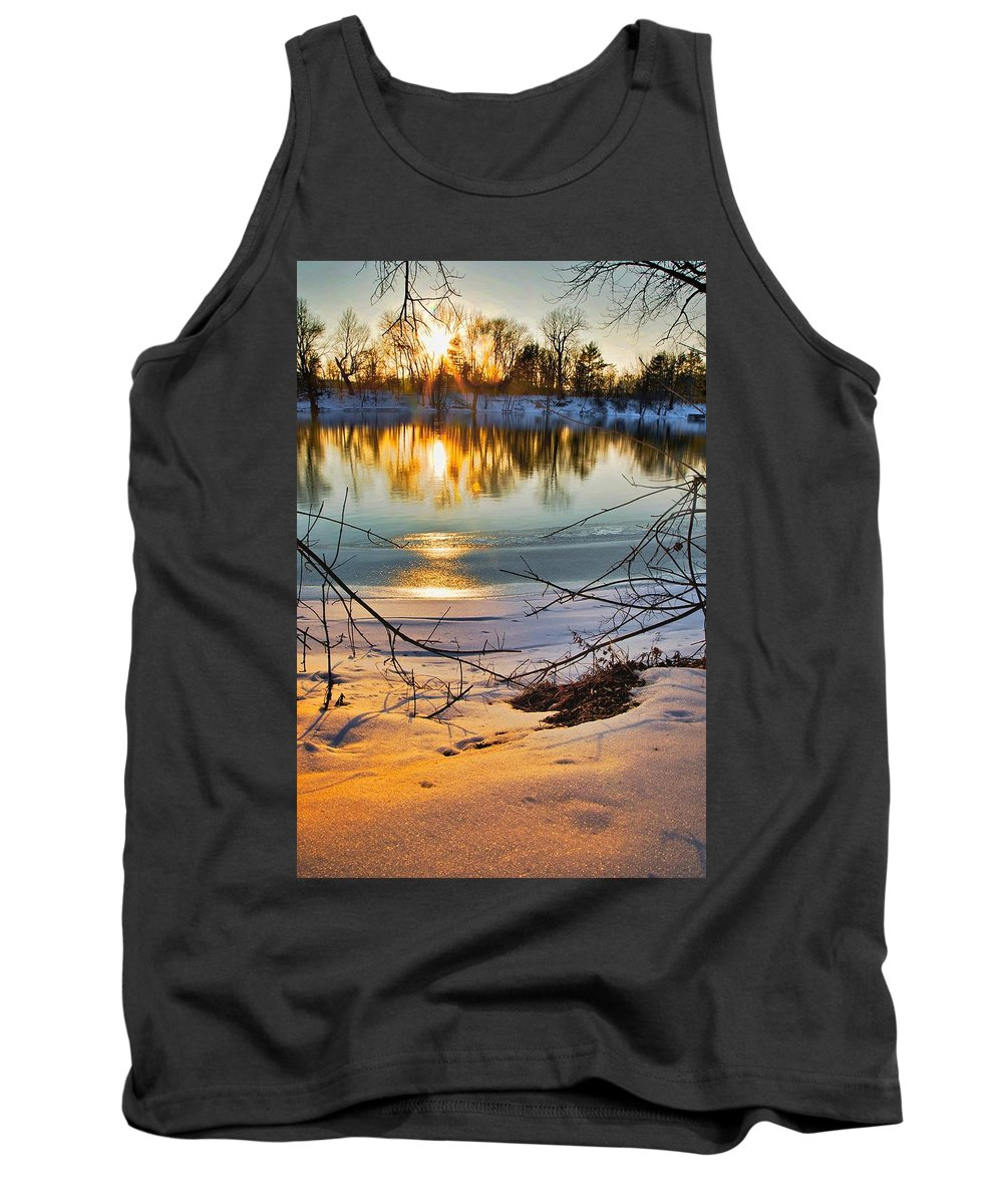 Snow Tank Top featuring the photograph Golden Snow by Robert Pearson