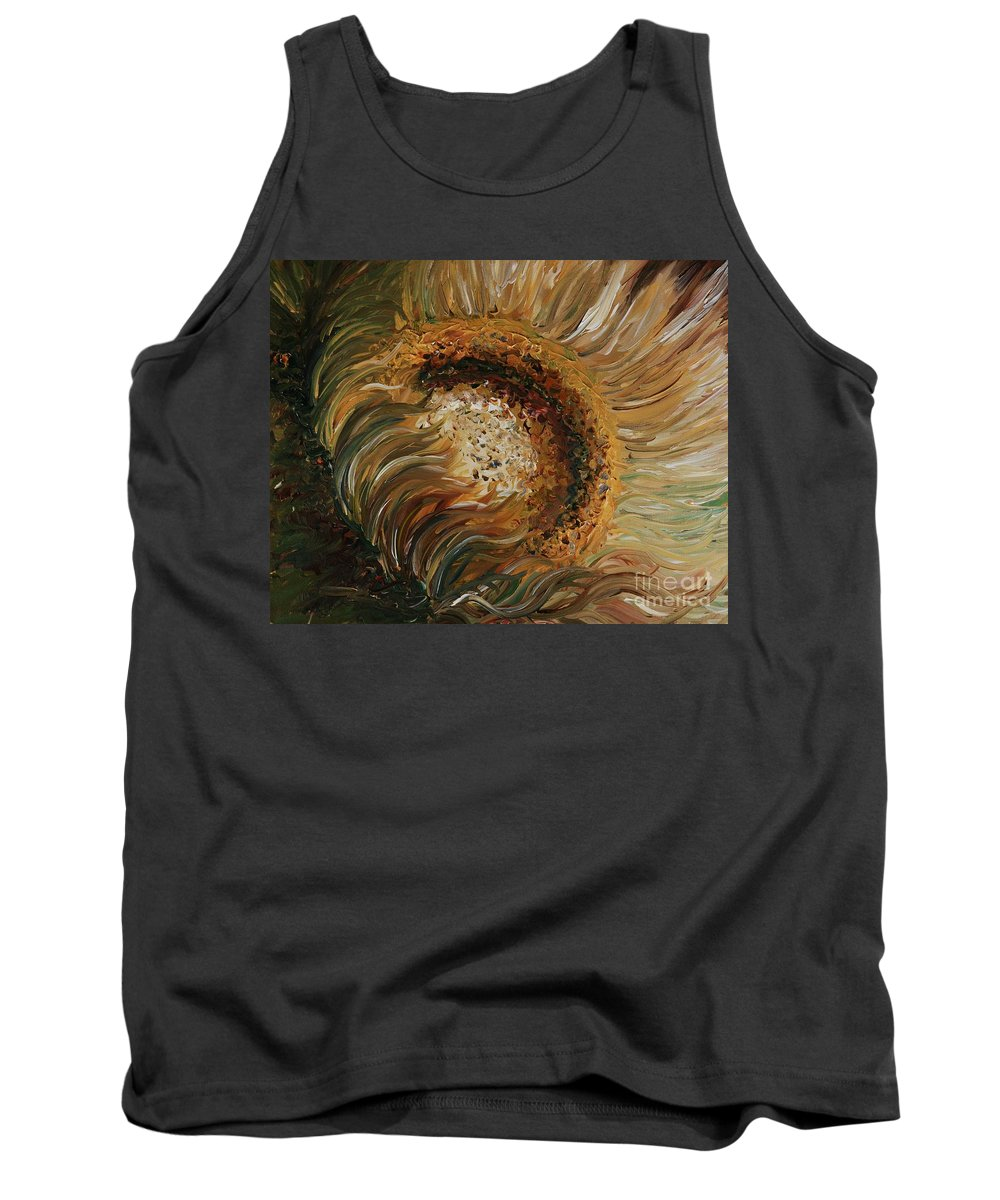 Sunflower Tank Top featuring the painting Golden Sunflower by Nadine Rippelmeyer