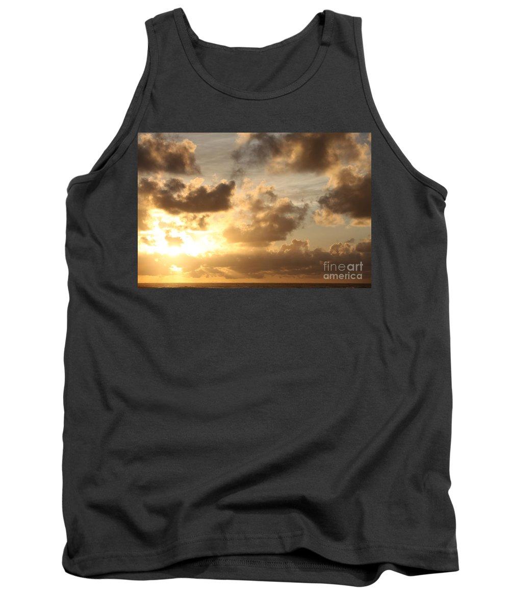 Sunrise Tank Top featuring the photograph Golden Sunrise On Kauai by Nadine Rippelmeyer
