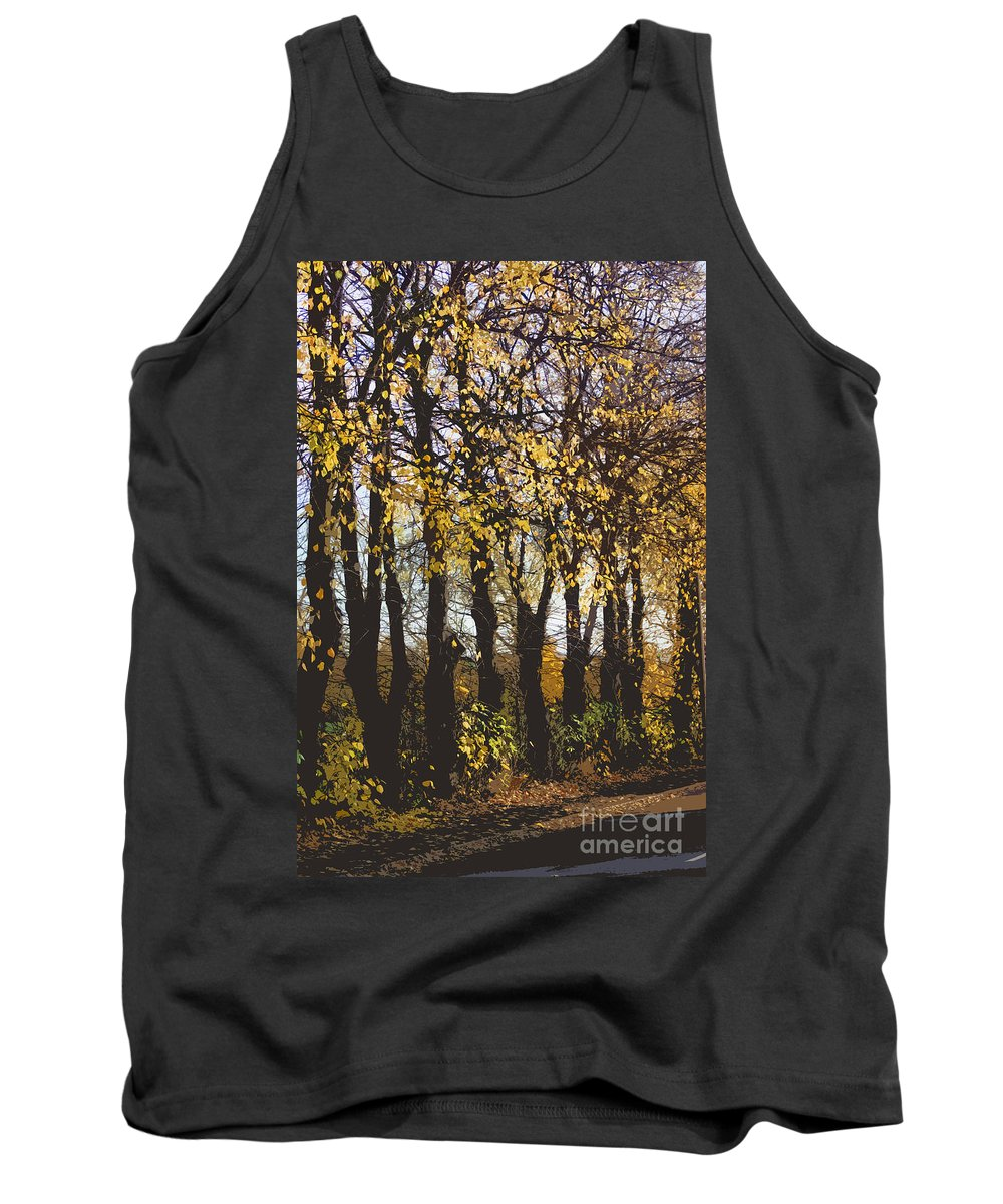 Abstract Tank Top featuring the digital art Golden Trees 1 by Carol Lynch