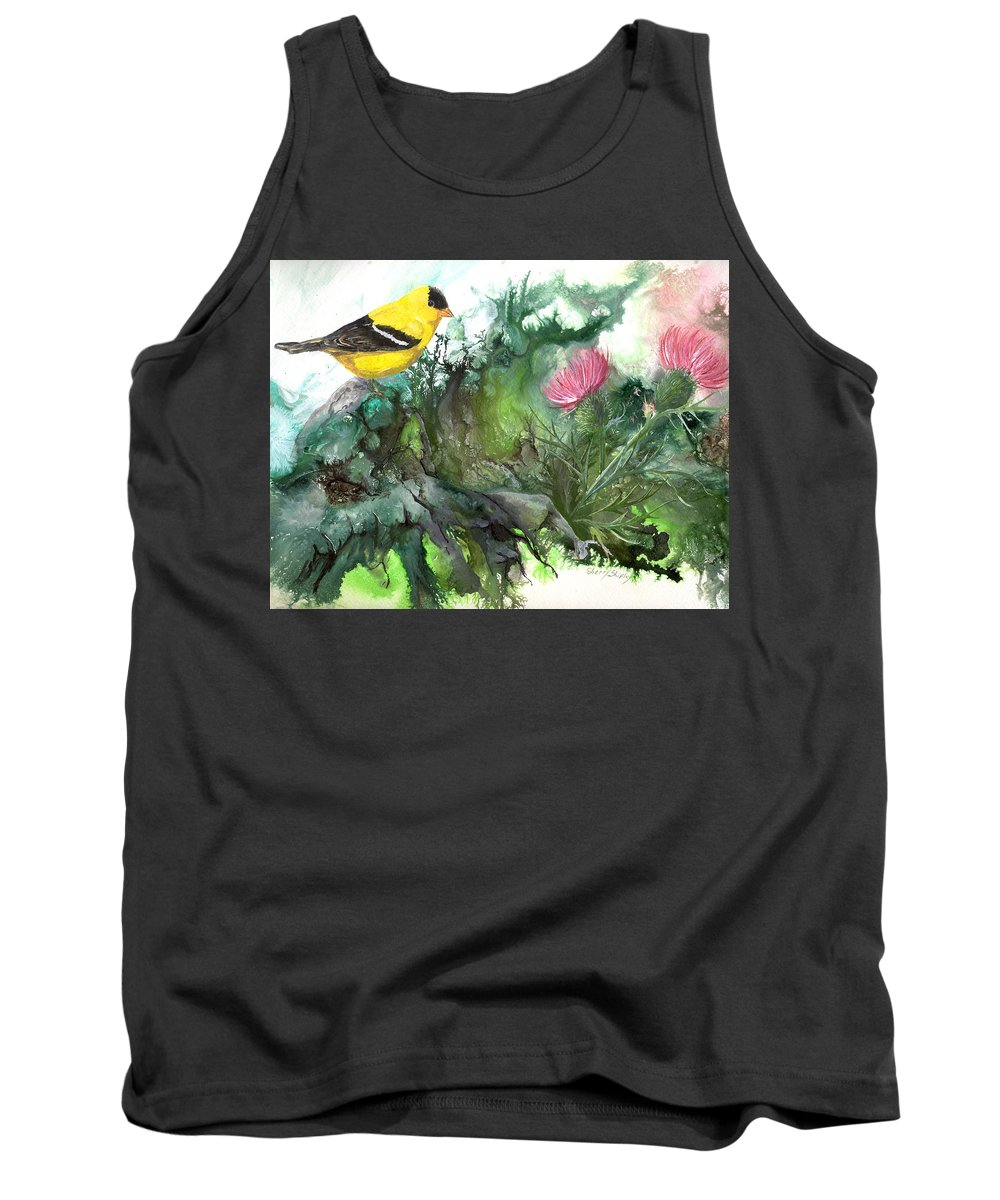 Bird Tank Top featuring the painting Goldfinch by Sherry Shipley