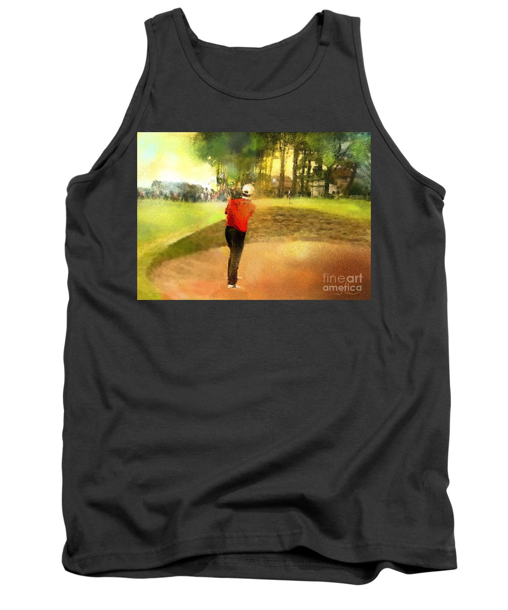 Golf Tank Top featuring the painting Golf In Scotland Saint Andrews 01 by Miki De Goodaboom